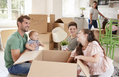 Family moving in new home